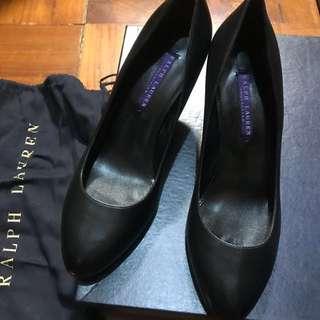 Ralph Lauren purple label 黑色全皮高踭鞋 size 37