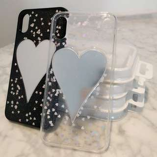 iPhone X Soft TPU Heart Shape Mirror with Small Hearts