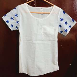 White Shirt with Starry Sleeves
