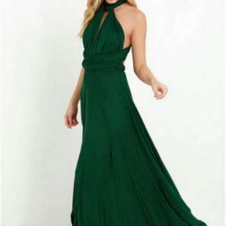 Convertible dark green dress