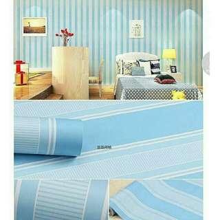 🎉Sedang Diskon Wallpaper Dinding motif garis biru. Panjang Lebar 10M x 45cm Rp.70000. Diluaran masih diatas 100ribu loh