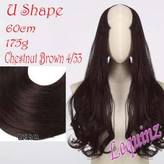 Semi Wavy U Shape Hair Extensions Clip On Chestnut Brown