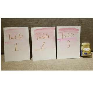 婚禮用全新單面書法水彩枱卡,table1至20(4同14除外),適合18圍或以內嘅朋友