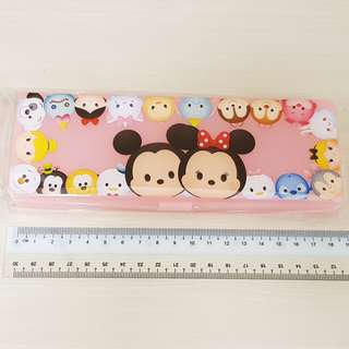 Disney Tsum Tsum Pink Mickey and Minnie Plastic Stationery Pencil Case