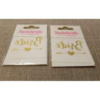 結婚用Bride字樣水印貼纸2張,每張$5