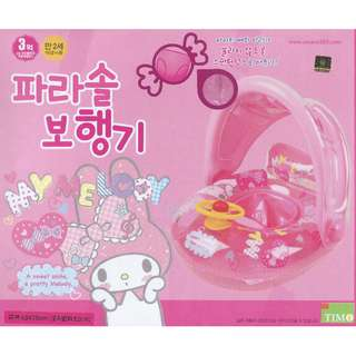 (Free Delivery) Sanrio My Melody Inflatable Baby Float Swim Ring Seat with Steering Wheel and Canopy Shade