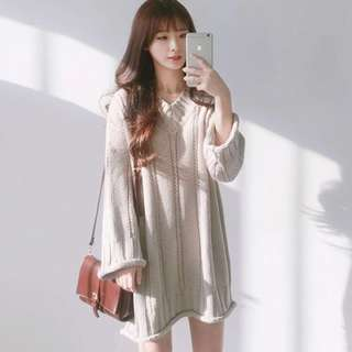 ≦ INSTOCK ≧ Cream Knitted Sweater Dress