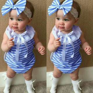 Newborn Baby Girl Blue Striped Sleeveless Romper🍀