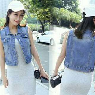 VILAN VEST  ROMPI BAHAN JEANS WASHED TEBAL, FIT TO L. TANPA INNER