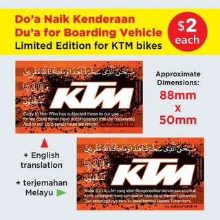 Du'a for Boarding Vehicle / Doa Naik Kenderaan Islamic Stickers for KTM bikers. Pls SWIPE the image for more details. $2 each. Get both for just $3 with Free Normal Mail.