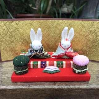 100%日本手作 傳統布藝兔 公仔 擺設 結婚禮物
