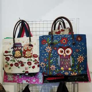 Adorable Owl Couple Knitted Bag (Left in photo)