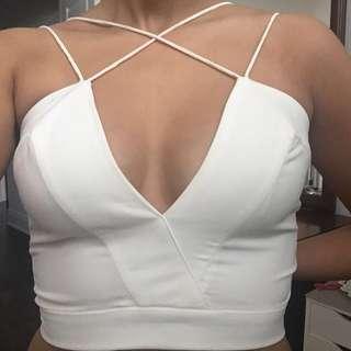 AQAQ white crop top, never worn, size 2