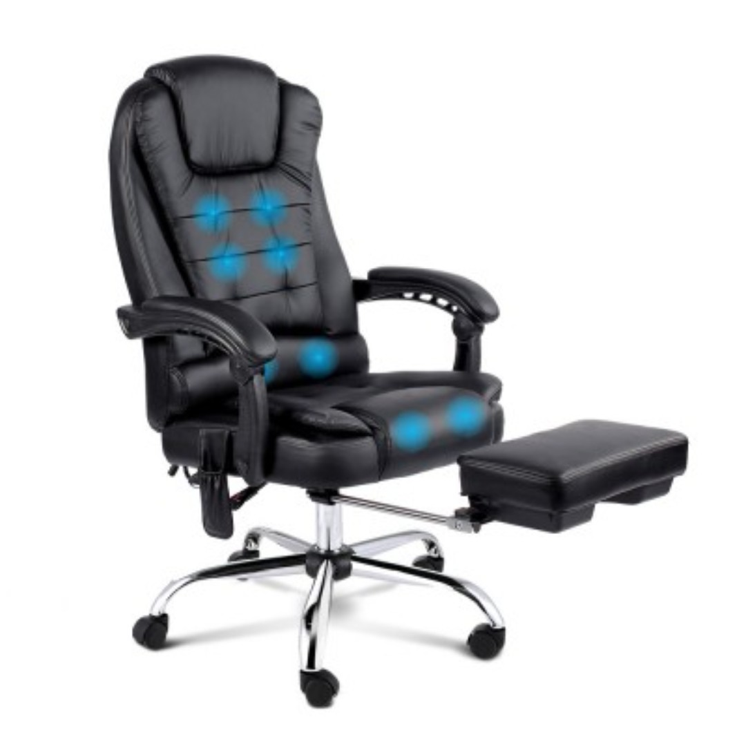 8-point Massage Office Chair with Retractable Footrest Black SKU: MOC-9MJ-BK