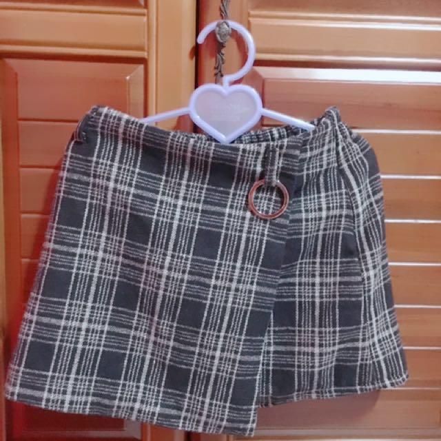 格紋高腰裙