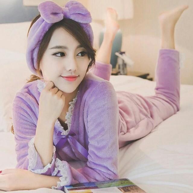 法蘭絨韓版甜美蕾絲睡衣居家服