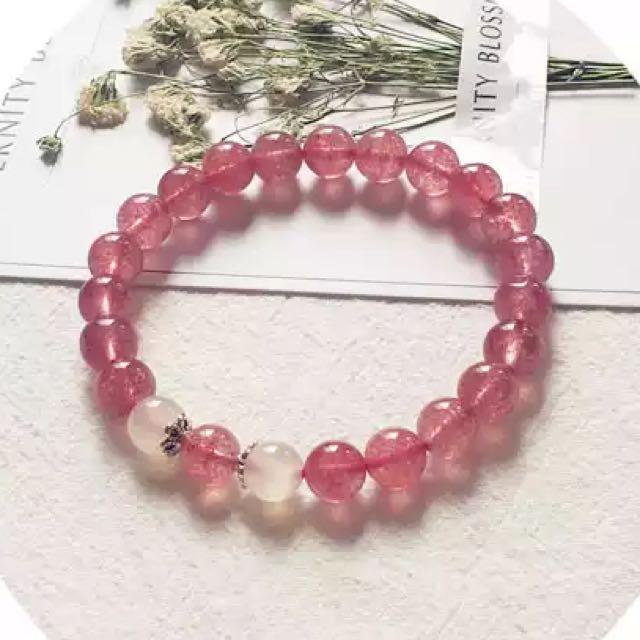 草莓水晶+月光石開光招桃花手鏈❤️預購