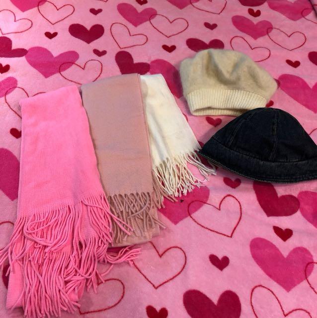 圍巾+帽子五件組