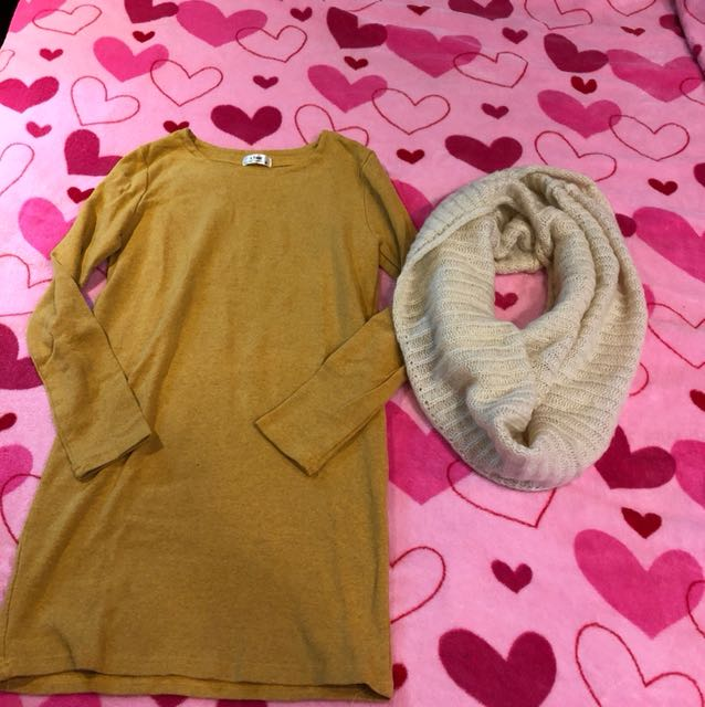 棉質長版上衣(韓國)+脖圍
