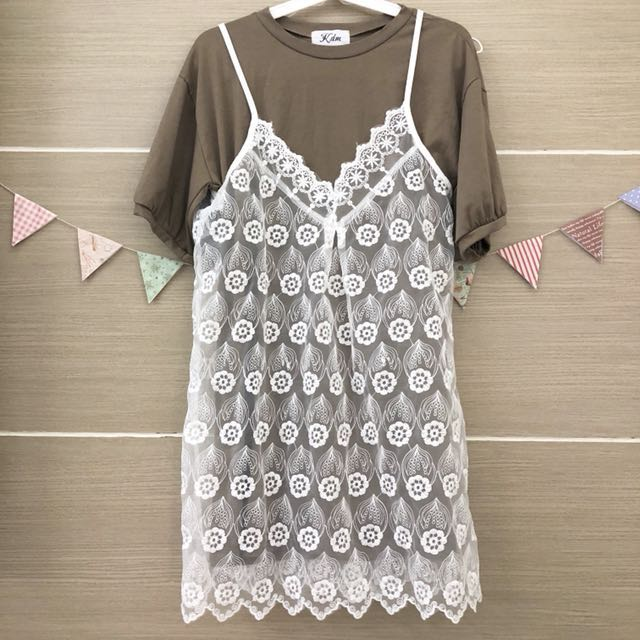 蕾絲背心洋裝(兩件式)