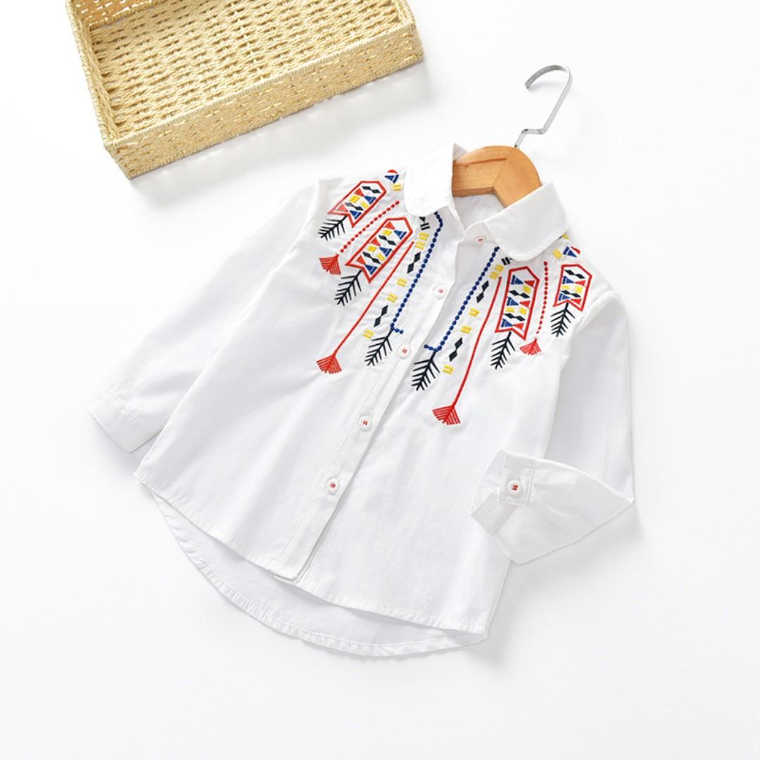 (預購)☑長袖繡花襯衫☑大小童