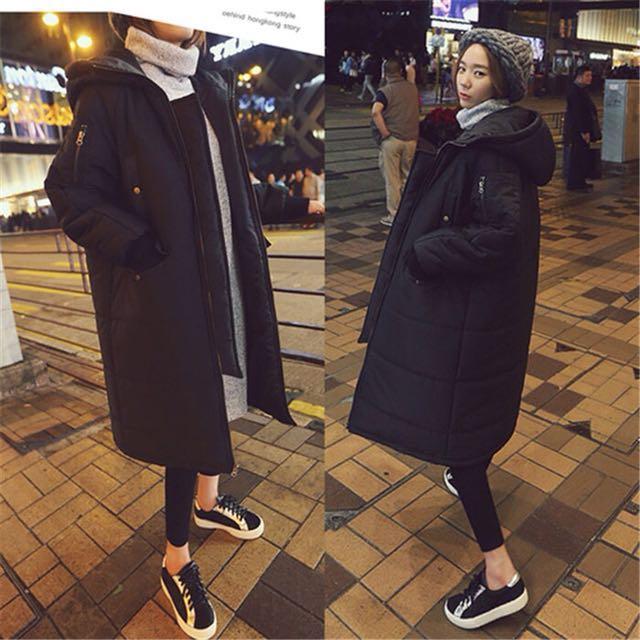 ❤️新款黑色長款舖棉外套