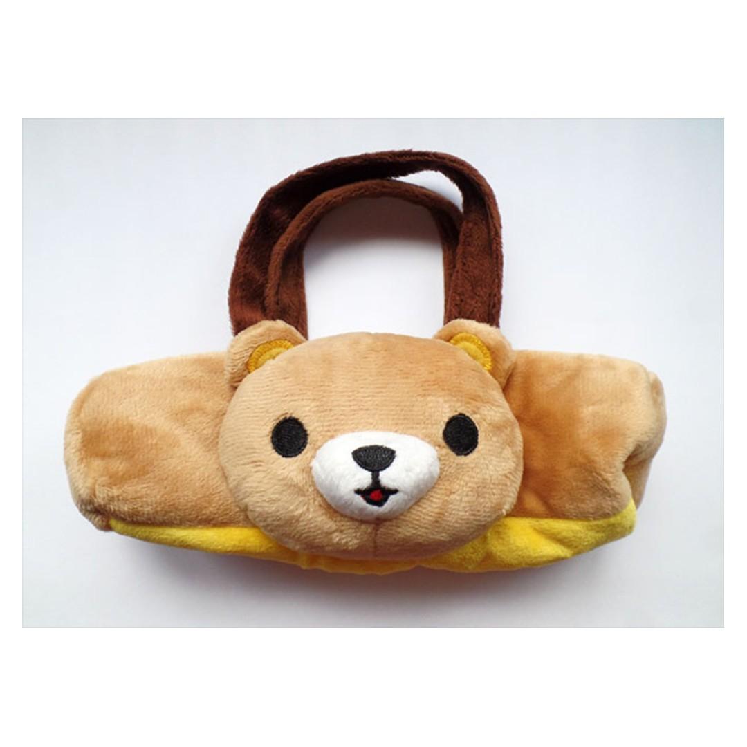 可愛絨毛熊熊筆袋 置物袋 (全新)