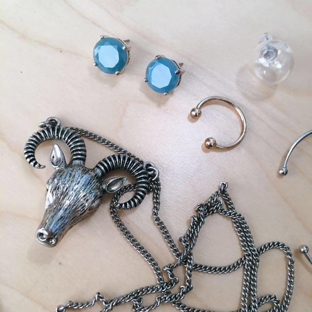 Accessorize 山羊頭項鍊 耳環 戒指 手環