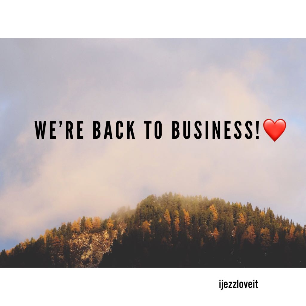 Back to business!