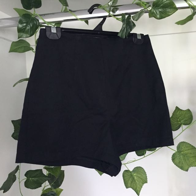 Basic Black High Waisted Shorts