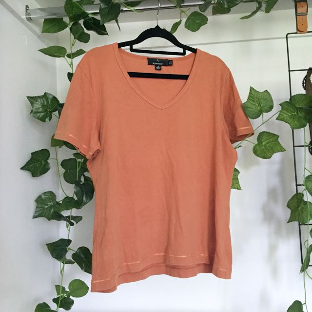 Basic Orange V Neck Shirt