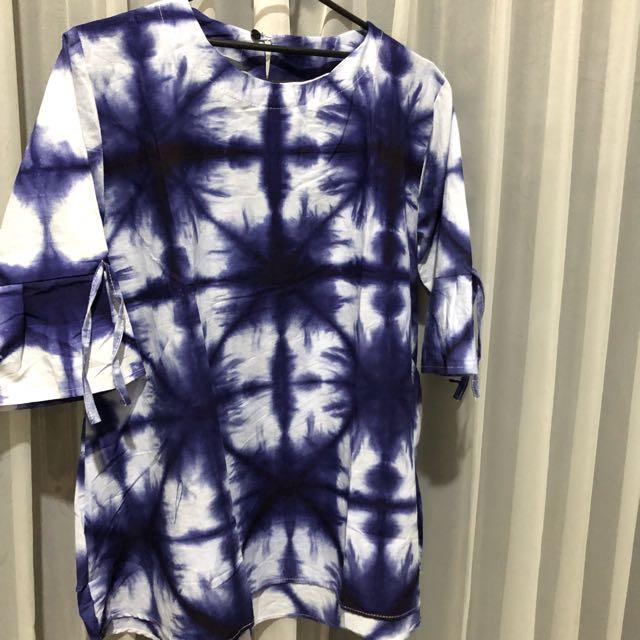 Batik blouse blue and white
