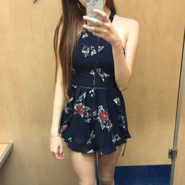 BNWT Blue Floral Backless Playsuit