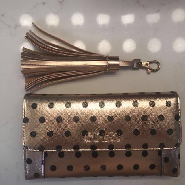 Brand New Rose Gold n polka dot Guess wallet and Purse accessory
