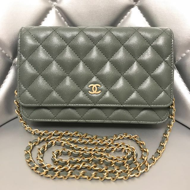 2f1a7590a044c Chanel Wallet On Chain Caviar Leather Green With Little Sparkles ...