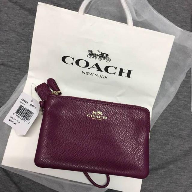 全新含運!COACH 特別款 紫紅色皮革手拿包