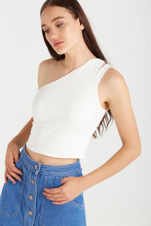Cotton On White Shoulder Crop Top