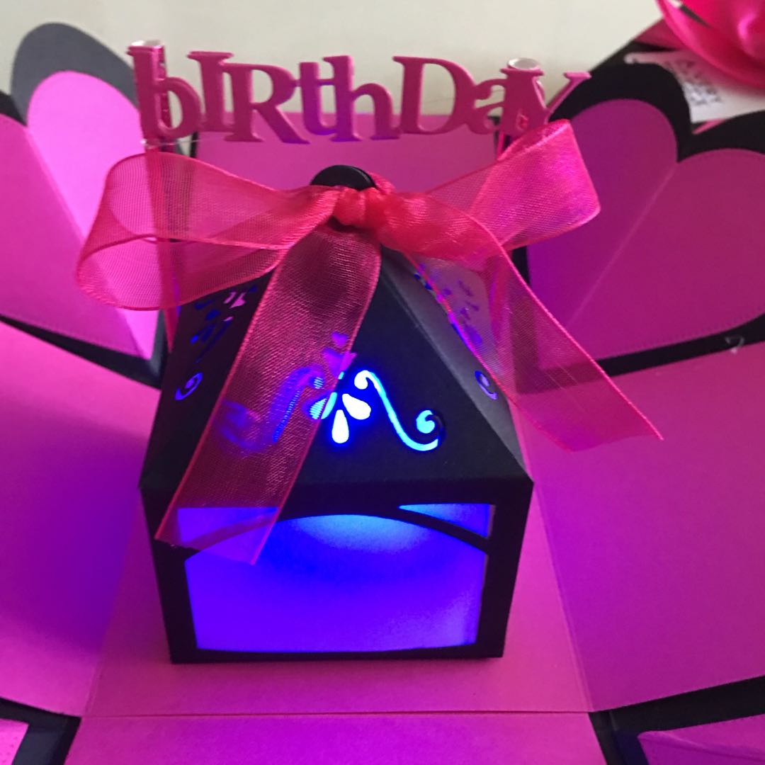 Diy Explosion box with lighthouse, bunting in black & hot pink ...