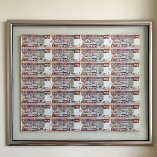 EXTREMELY RARE - Nicely Framed Up 1997 Singapore $100 Ship Uncut ...