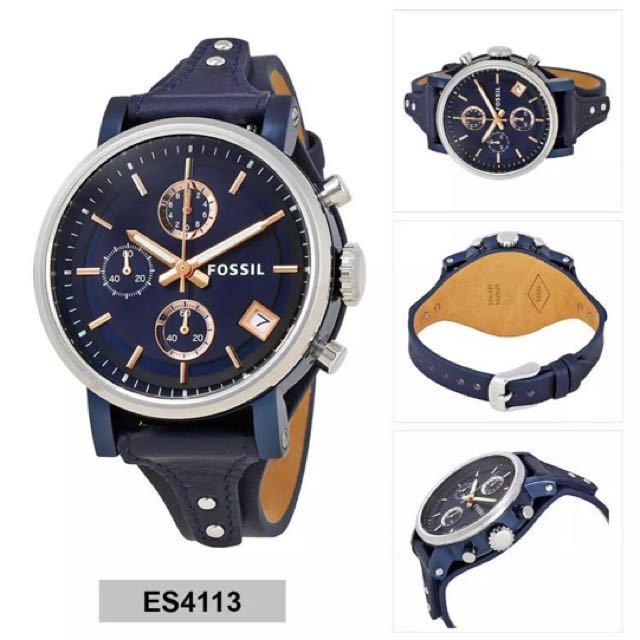 3392aac29 Fossil Original Boyfriend Blue Dial Blue Leather Chronograph Ladies Watch,  Luxury, Watches on Carousell