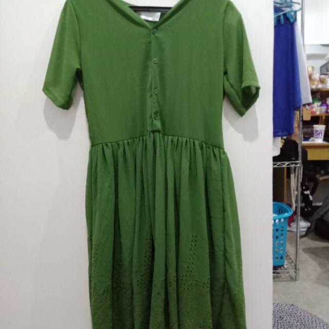 Green eyelet dress