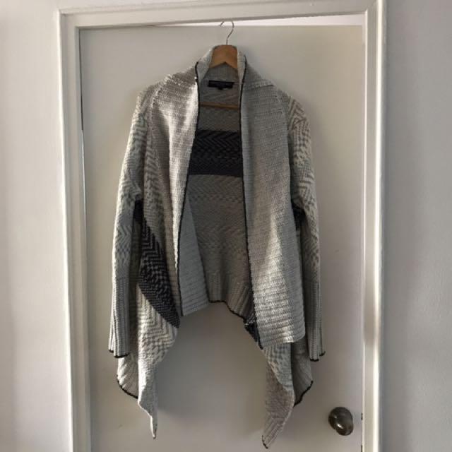 Grey patterned asymmetrical cardigan