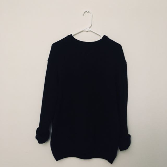 H and M Oversized Black Knit Sweater