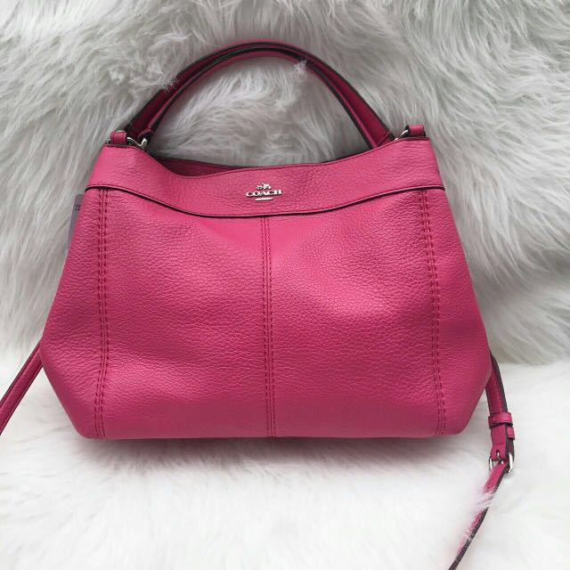 Incoming stocks Coach Small Lexy Pebble Leather Shoulder Bag in Magenta 24d2fc3c1f82c