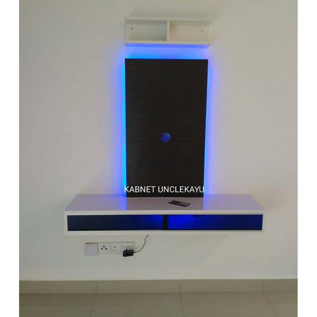 Kabinet tv gantung dgn lampu floating tv cabinet with light home furniture furniture on carousell