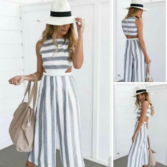 Ladies stripe Jumpsuit (Free Size)