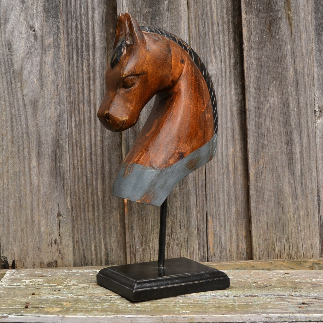 Large Rustic Timber Horse Bust Statue on Stand