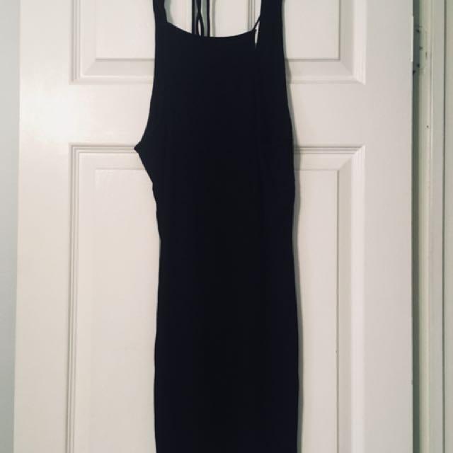 Mendocino- Black v-neck backstrap dress