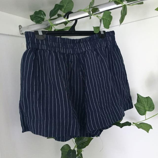 Navy and White Stripe Shorts