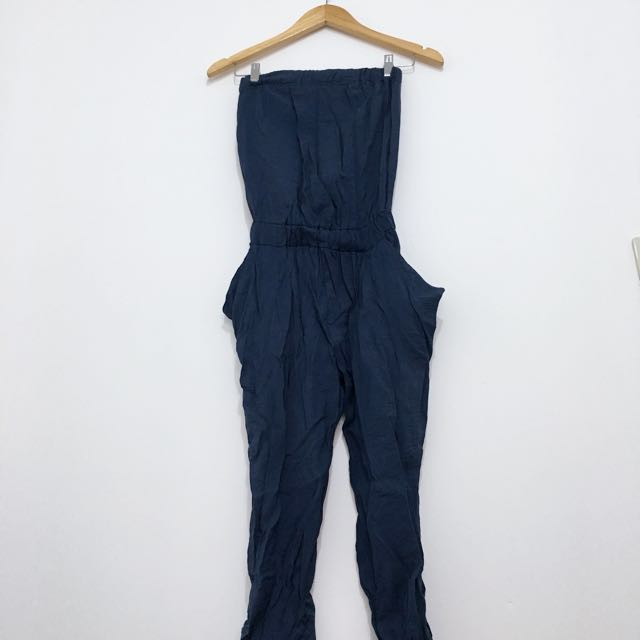 Navy Blue Tube Jumpsuit